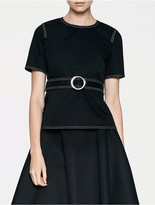 Calvin Klein Platinum Double Weave Belted Top