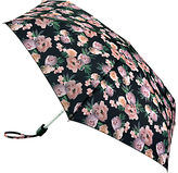 Fulton Tiny 2 Rococo Rose Print Umbrella, Black/Pink