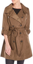 French Connection Roll Tab Sleeve Mock Double-Breasted Trench