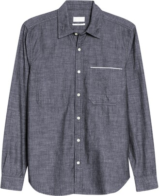 7 For All Mankind Slim Fit Hidden Pocket Selvedge Button-Up Chambray Shirt