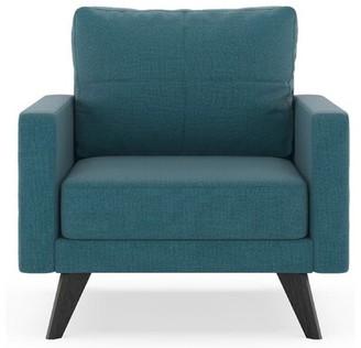 Corrigan Studio Cowell Armchair Upholstery Color: Aegean Blue, Finish: Black
