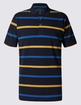 Marks and Spencer Slim Fit Pure Cotton Stripe Polo Shirt
