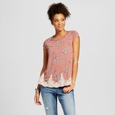 Xhilaration Women's Lace-trim Tee Juniors')