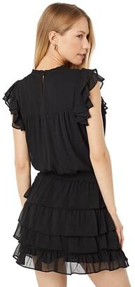 1 STATE Shirred Yoke Tiered Skirt Dress