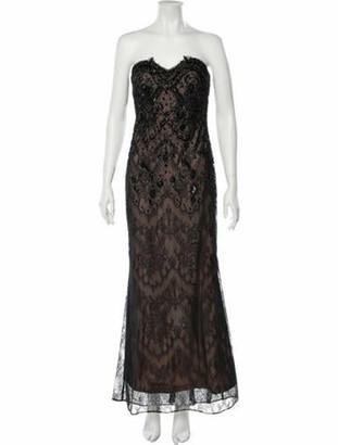 Marchesa Lace Pattern Long Dress Black