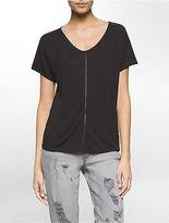 Calvin Klein Womens Perforated Boho Short Sleeve Shirt