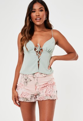 Missguided Pink Floral Print Frill Shorts