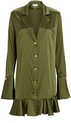 Caroline Constas Joni Ruffled Silk Shirt Dress