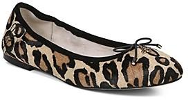 Sam Edelman Women's Felicia Round Toe Leopard Print Calf Hair Ballet Flats