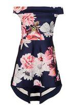 Quiz Curve Navy Floral Bardot Dip Hem Dress