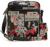 Prada Comic-strip print leather messenger bag