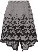 Sacai Asymmetric Broderie Anglaise Cotton-blend Skirt - Black