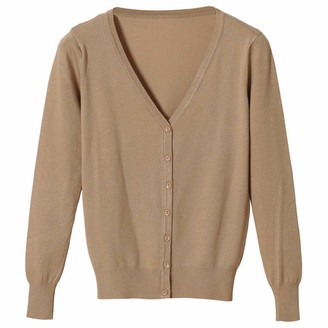 Yaott Women V Neck Button Down Long Sleeve Ultra Soft Solid Color Knit Cardigan Sweater Camel S