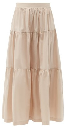 STAUD Sea Tiered Cotton-blend Skirt - Light Beige