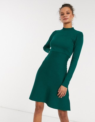 Girl In Mind high neck knitted skater dress in emerald green