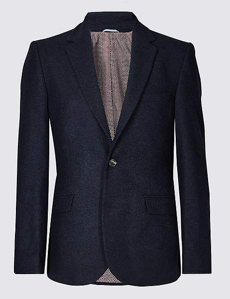 Marks and Spencer Wool Blend Herringbone Tailored Fit Jacket