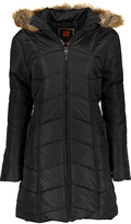 Black Chevron Faux Fur Trim Hooded Puffer Coat