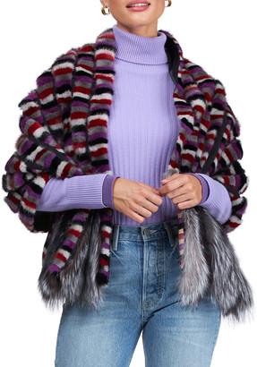 Burnett Mink Wrap Stole w/ Fox Fur Trim