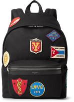 Saint Laurent City Leather-Trimmed Appliquéd Canvas Backpack