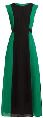 Cefinn Contrast-panel Tie-waist Voile Midi Dress - Green Multi
