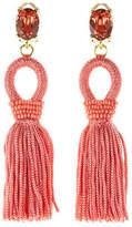 Oscar de la Renta Short Silk Tassel Clip-On Earrings
