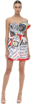 Moschino Printed Duchesse Mini Bustier Dress