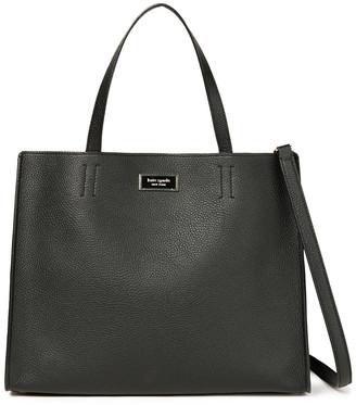 Kate Spade Sam Large Logo-appliqued Pebbled-leather Shoulder Bag