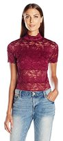 GUESS Women's Short Sleeve Shannon Mock Neck Top