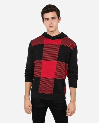 Express Striped Check Hooded Sweater