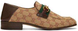 Gucci Beige and Brown GG Bonny Loafers