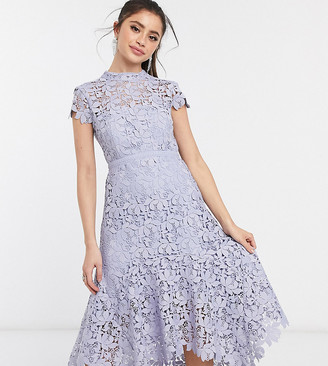 Ever New Petite lace hi-low maxi dress with bow back in pastel blue