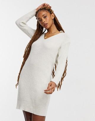 Miss Selfridge tie back knitted dress in oatmeal