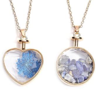 Shop Lc Goldtone Lapis Lazuli Glass Set of 2 Pendant Necklace Size 24 In Ct 5 - Necklace 24''
