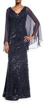 Rickie Freeman For Teri Jon Cape-Sleeve Sequin Leaf Silk Gown, Blue