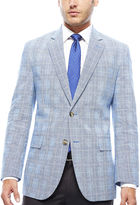 STAFFORD Stafford Bright Blue Plaid Linen-Cotton Sport Coat - Classic Fit