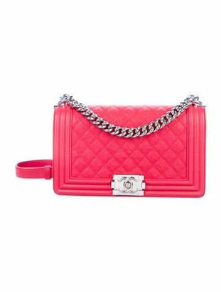Chanel 2018 Medium Caviar Boy Bag Red