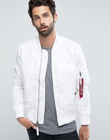 Alpha Industries Ma-1 Bomber Jacket Slim Fit In White