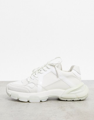 Bronx chunky sneakers in white leather