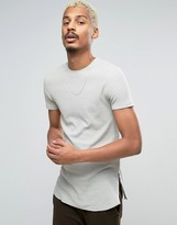 Asos Longline Muscle T-Shirt In Waffle Fabric With Side Zips