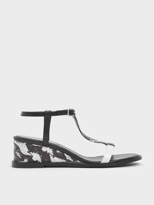 Charles & Keith Snake Print T-Bar Wedges