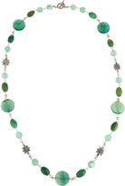 Stephen Dweck Long Fluorite & Dyed Green Jade Necklace