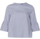 Dorothy Perkins Womens Blue Stripe Cotton Flute Sleeve Top- Blue
