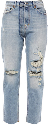 IRO Cropped Distressed High-rise Straight-leg Jeans