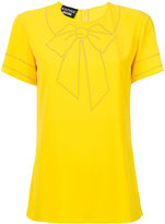 Moschino bow embroidered T-shirt - women - Polyester/Spandex/Elastane - 40