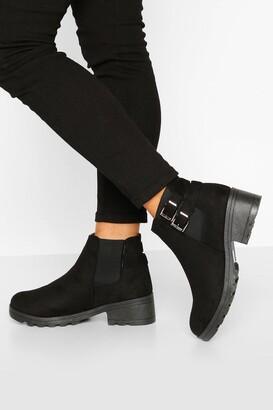 boohoo Wide Fit Buckle Detail Block Heel Chelsea Boots