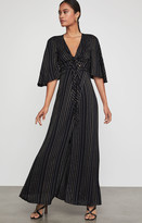 BCBGMAXAZRIA Tie Front Striped Maxi Dress