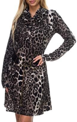 Ariella Usa Leopard Knit Cowl Dress