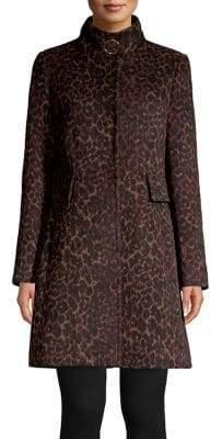 Via Spiga Leopard Printed Wool-Blend Coat