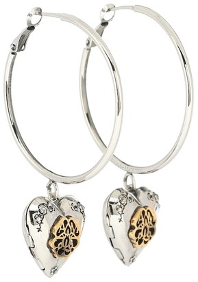 Alexander McQueen Seal embellished hoop earrings