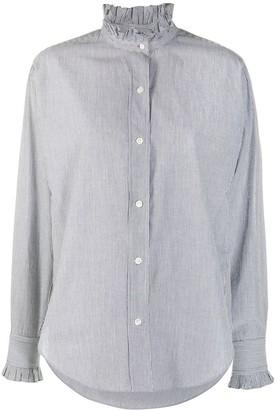 Etoile Isabel Marant Ruffle-Neck Striped Shirt